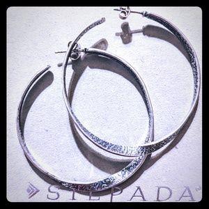 Silpada Large twisted hoop earrings. P1731.Retired